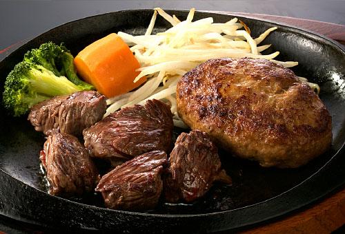 カットステーキ&黒毛和牛入りハンバーグ